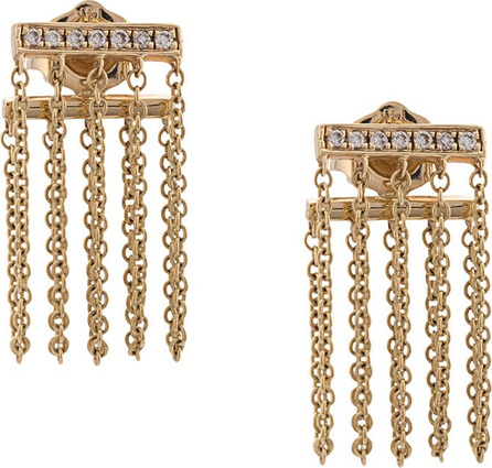 Sydney Evan 14kt gold and diamond bar chain earrings