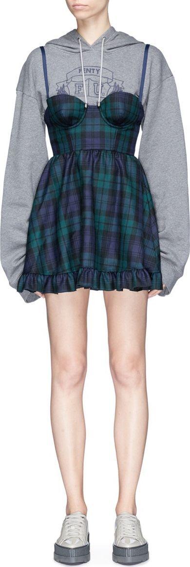 FENTY PUMA by Rihanna Two-in-one logo print sweatshirt check wool dress