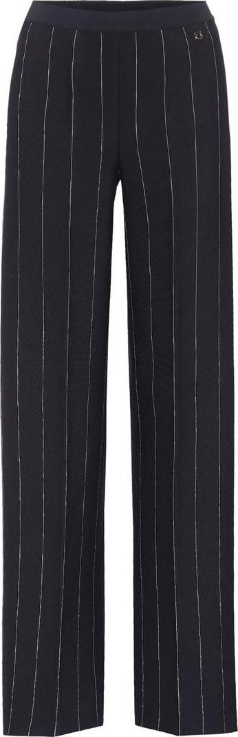 Salvatore Ferragamo Striped crêpe wide-leg trousers