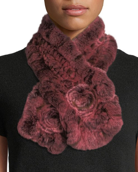 Belle Fare Rex Rabbit Fur & Knit Scarf