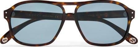 Gucci Aviator-Style Tortoiseshell Acetate Sunglases
