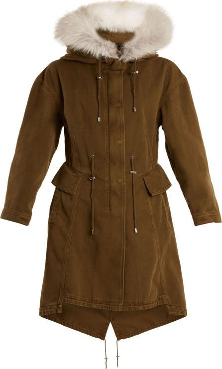 Alexander McQueen Fur-trimmed cotton-gabardine parka