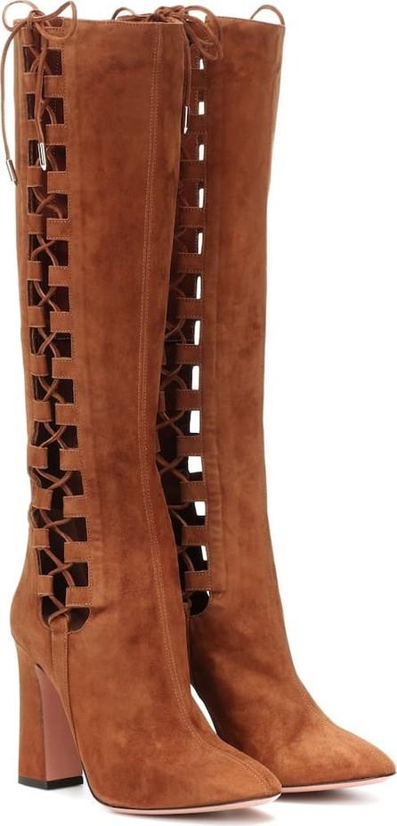 Aquazzura Medina 105 suede knee-high boots