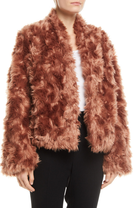 Vince Plush Faux-Fur Cropped Jacket
