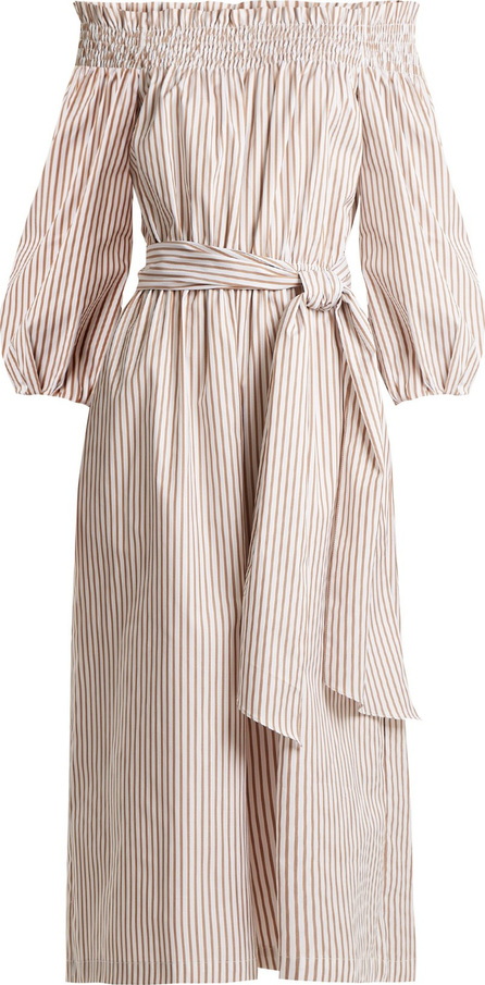 Caroline Constas Lou off-the-shoulder striped cotton jumpsuit