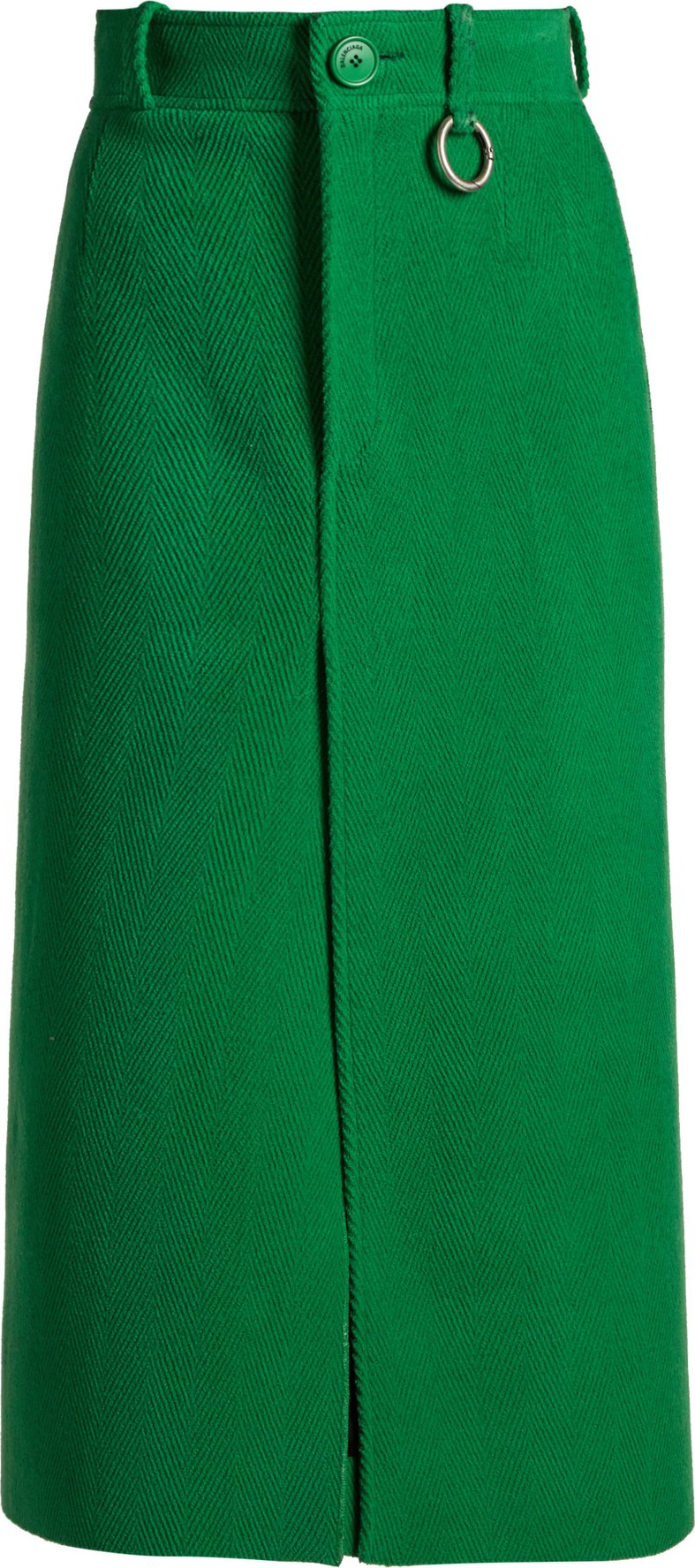 Balenciaga - Wool high-rise split-front skirt