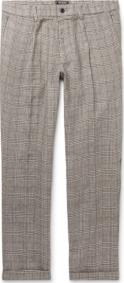 Todd Snyder Grey Slim-Fit Checked Linen Drawstring Trousers