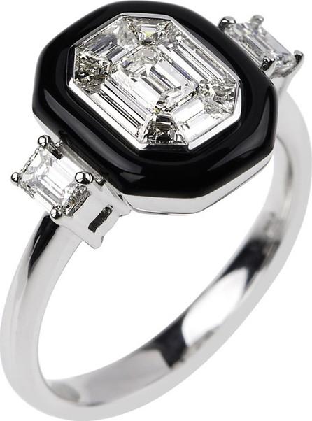 Nikos Koulis 18k White Gold Oui Diamond & Black Enamel Ring, Size 6.75