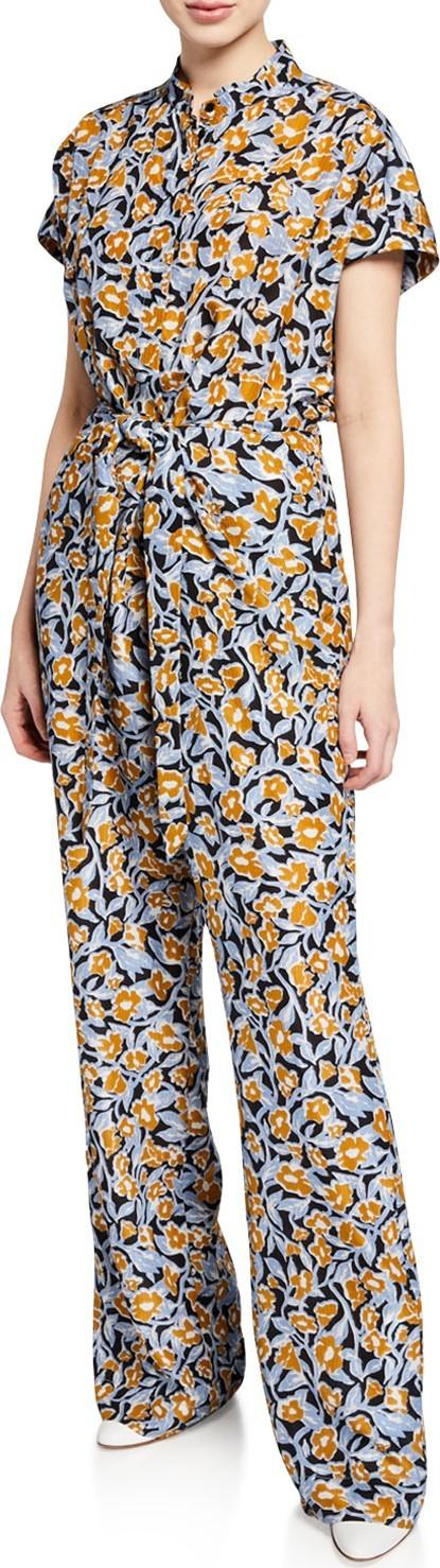 Christian Wijnants Oari Short-Sleeve Silk Jumpsuit
