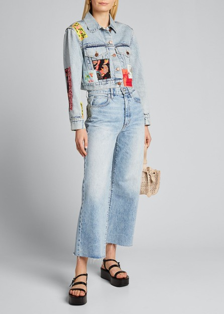 Alice + Olivia Cropped Boxy Jacket with Patchwork