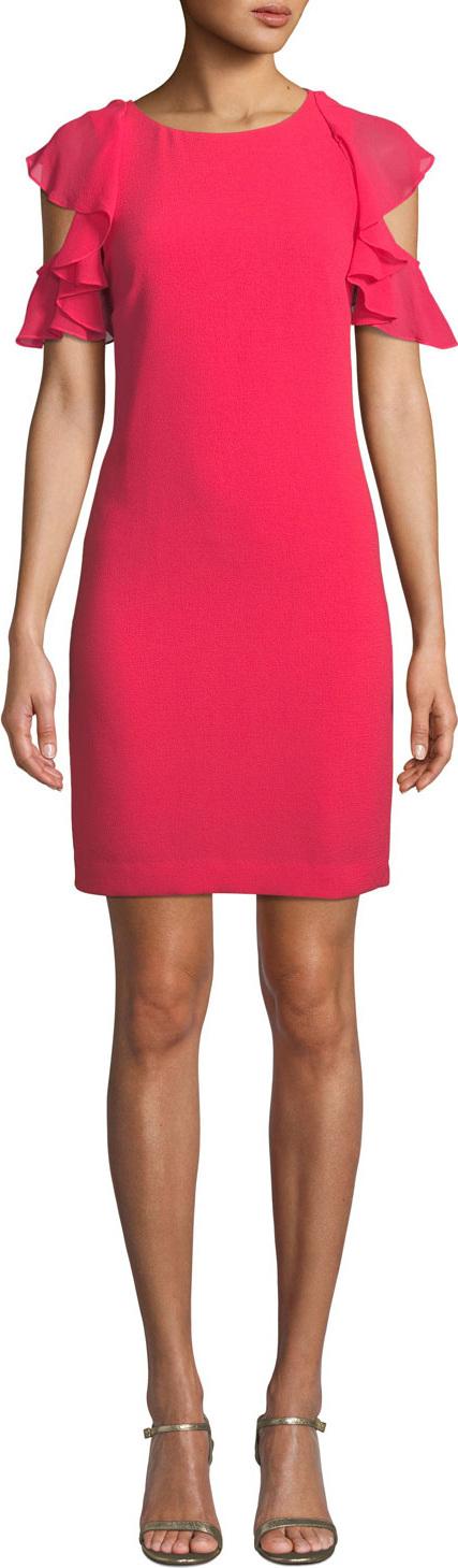 Trina Turk Amanda Mini Dress w/ Ruffle Cold Shoulders