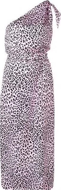 Alessandra Rich One Shoulder Silk Leopard Midi Dress