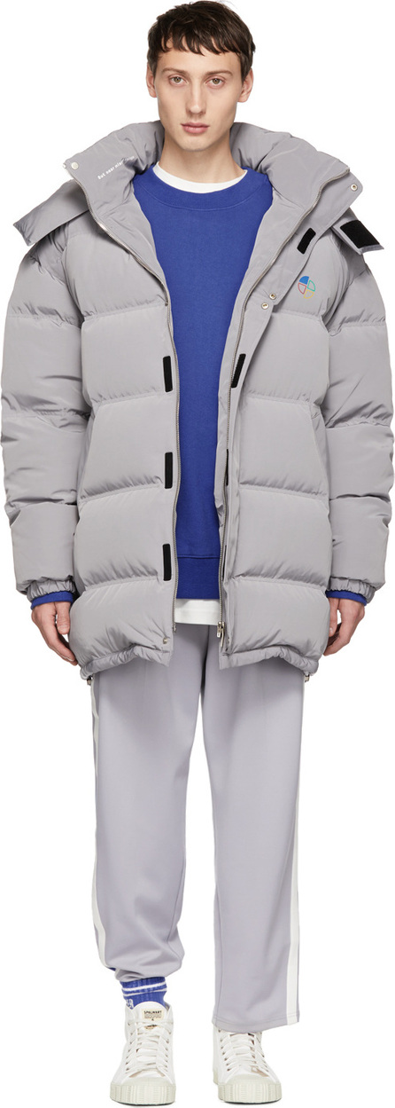 ADER error Grey Down Slice Logo Puffer Jacket