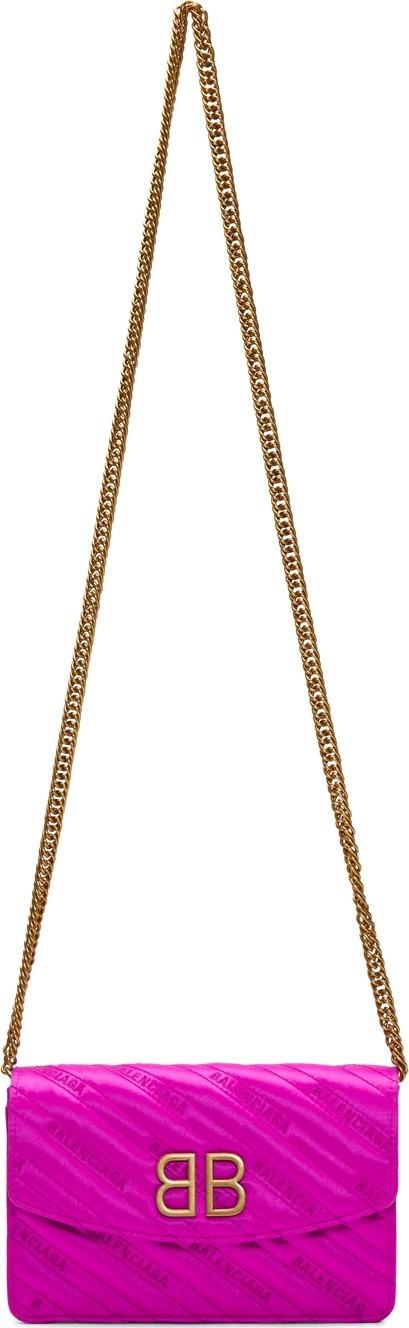 Balenciaga Pink Satin BB Wallet Chain Bag