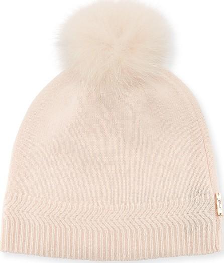 Gorski Knit Cashmere Beanie Hat w/ Fur Pompom