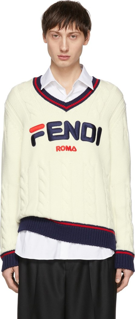Fendi Off-White 'Fendi Mania' V-Neck Sweater