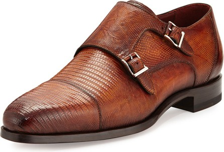 MAGNANNI Lizard Double-Monk Shoes, Saddle