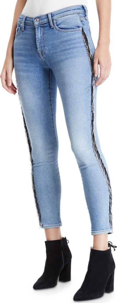 7 For All Mankind Mid-Rise Ankle Skinny Jeans with Beaded Fringe