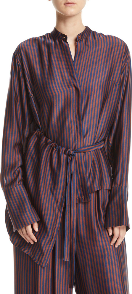 Christian Wijnants Tipha Striped Silk Belted Top