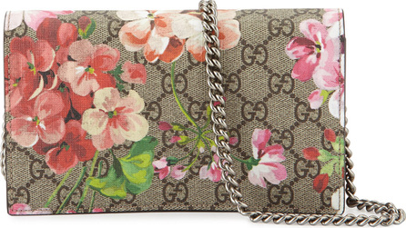 Gucci GG Blooms Supreme Chain Wallet, Multi Rose