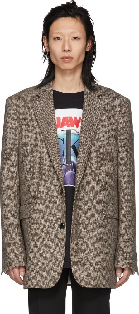 Calvin Klein 205W39NYC Brown Chevron Boxy-Fit Blazer