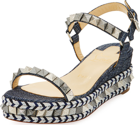 Christian Louboutin Pyraclou Spike Denim Low-Wedge Red Sole Sandal