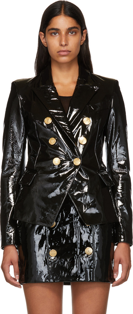 Balmain Black Patent Leather Jacket