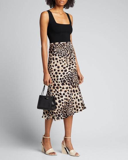 Elie Tahari Haidee Leopard-Print Silk Skirt