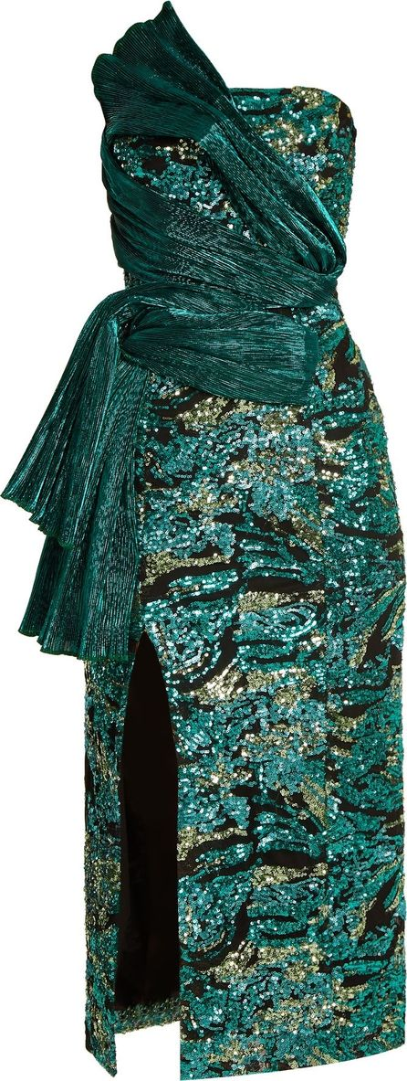 Halpern Asymmetric sequin-embellished strapless dress