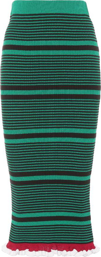 KENZO Striped cotton-blend skirt