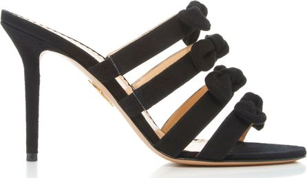 Charlotte Olympia Blyton Bow-Embellished Suede Sandals