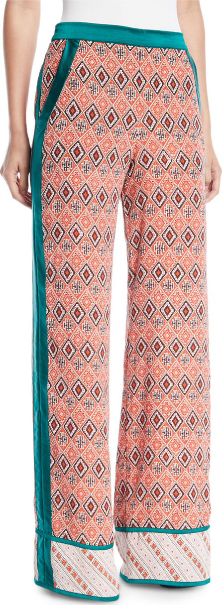 Talitha Almasi-Print Wide-Leg Pull-On Trousers