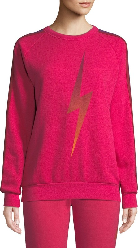 Aviator Nation Bolt Fade Side-Stripe Pullover Sweatshirt