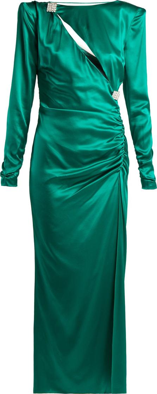 Alessandra Rich Ruched crystal-embellished silk-satin dress