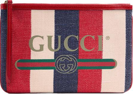 Gucci Linea Merida Striped Canvas Pouch Bag