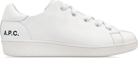 A.P.C. White Leather Minimal Tennis Women's Sneakers