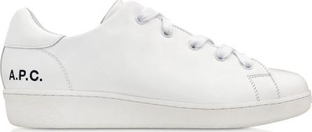 A.P.C. White Leather Minimal Tennis Women's Sneakers