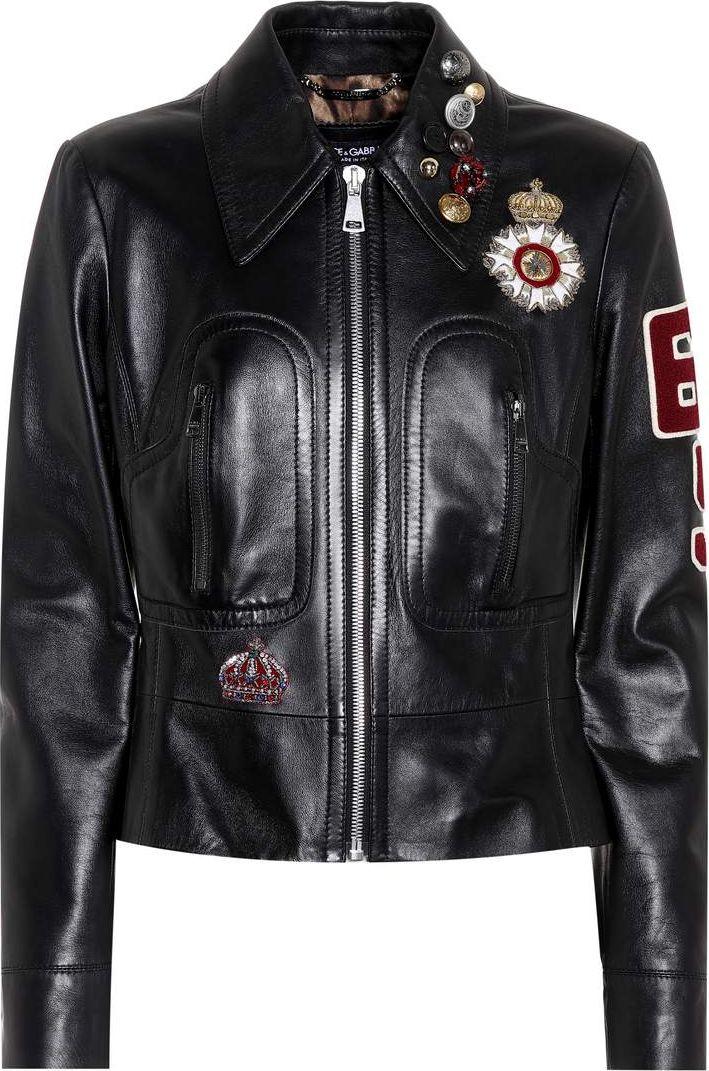 Dolce & Gabbana - Embellished leather jacket