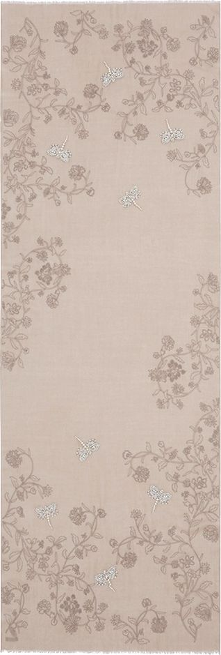 Janavi 'Pearl Dragonflies' embroidered cashmere scarf