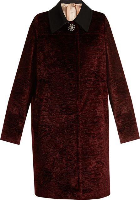 Nº21 Button-embellished faux-astrakhan coat