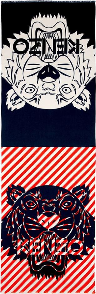 KENZO Tiger logo print twill scarf