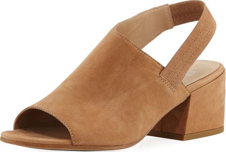 Eileen Fisher Leigh Nubuck Slingback Block-Heel Sandal
