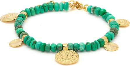 Joelle Kharrat Moneta turquoise and gold-plated anklet