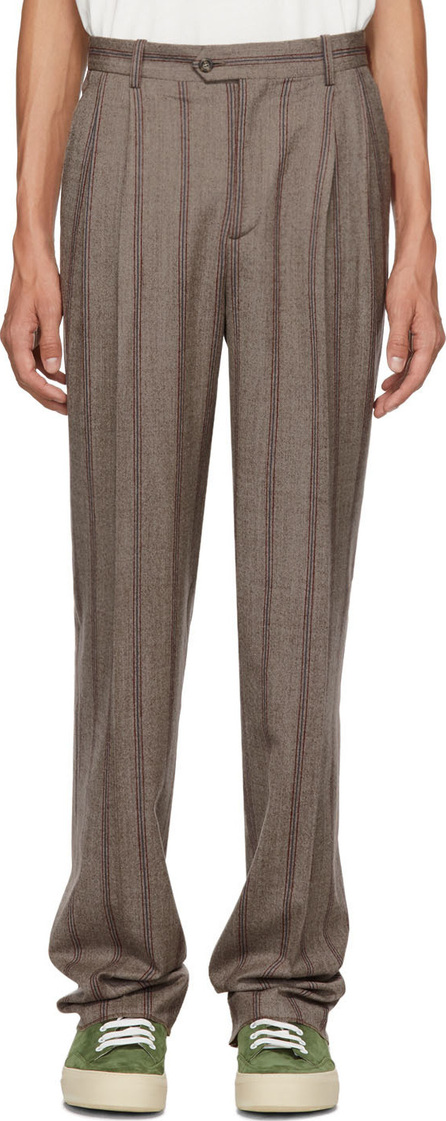 Éditions M.R Brown Stripe Pant High-Waisted Trousers
