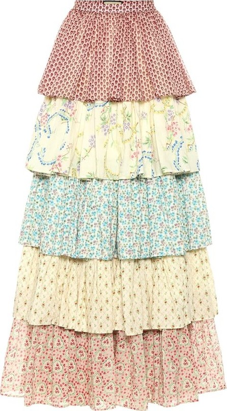 Gucci Tiered floral cotton maxi skirt