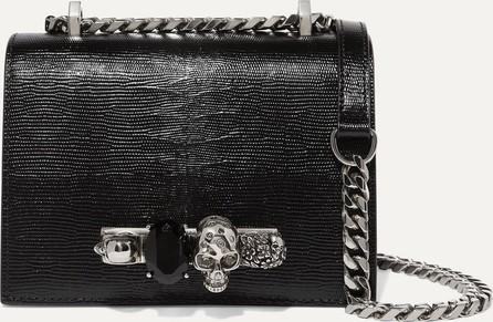 Alexander McQueen Jewelled Satchel embellished lizard-effect leather shoulder bag