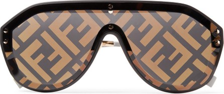 Fendi Aviator-Style Rubber-Trimmed Gold-Tone Logo-Print Sunglasses