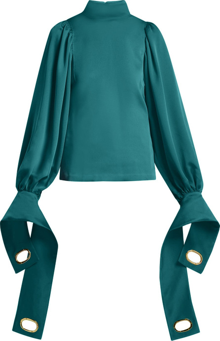 Self Portrait Exaggerated-cuff stretch-jersey blouse