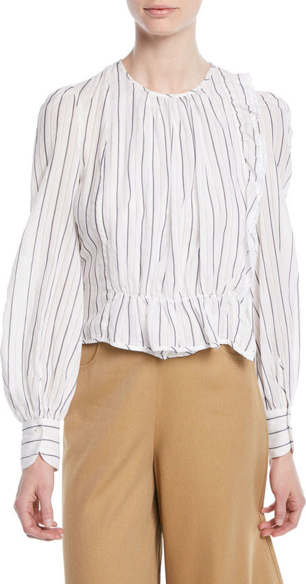 See By Chloé Striped Ruffle Long-Sleeve Shirred Blouse