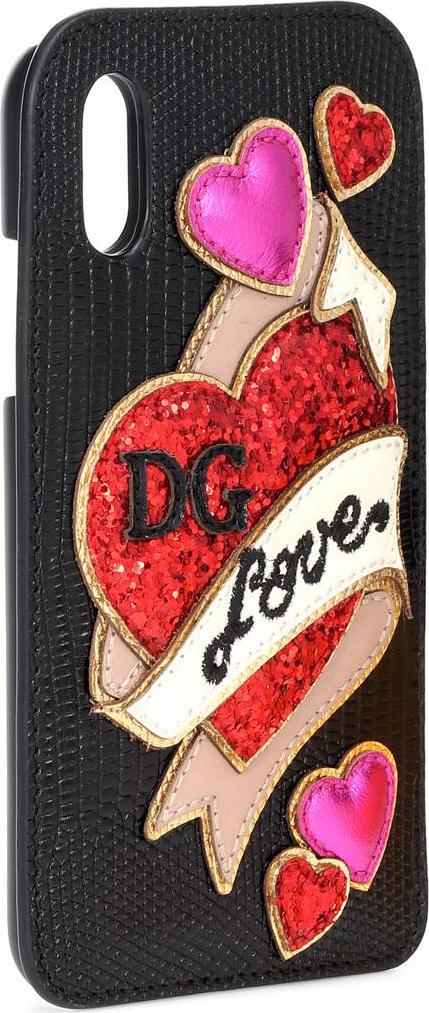 Dolce & Gabbana Embellished leather iPhone X case